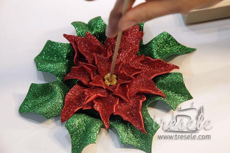 Tutorial de Navidad: Flor de Pascua de goma eva - Tresele