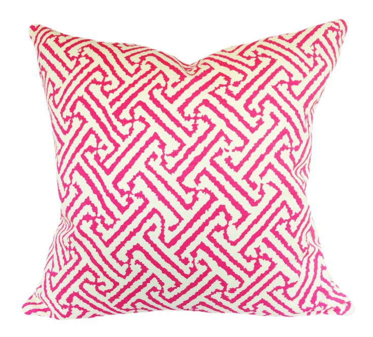 Quadrille Pink Java Grande Decorative Pillow Cover - Throw Pillow - Solid Cream Linen Back - 12x16, 12x20, 14x18, 14x20, 18x18, 20x20 by PillowTimeGirls on Etsy https://www.etsy.com/listing/266408488/quadrille-pink-java-grande-decorative