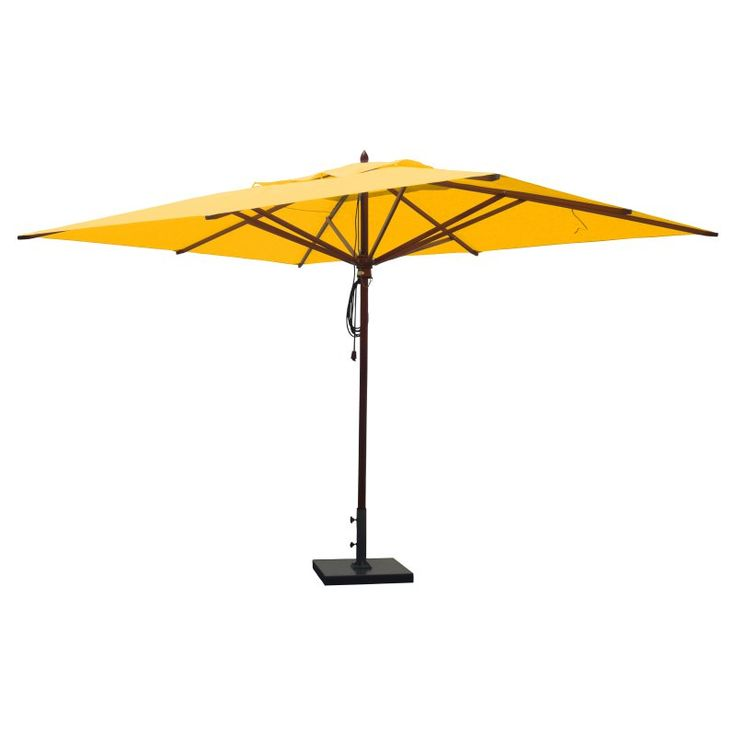 Greencorner 10 x 13 ft. African Mahogany Rectangular Patio Umbrella Sunflower Yellow