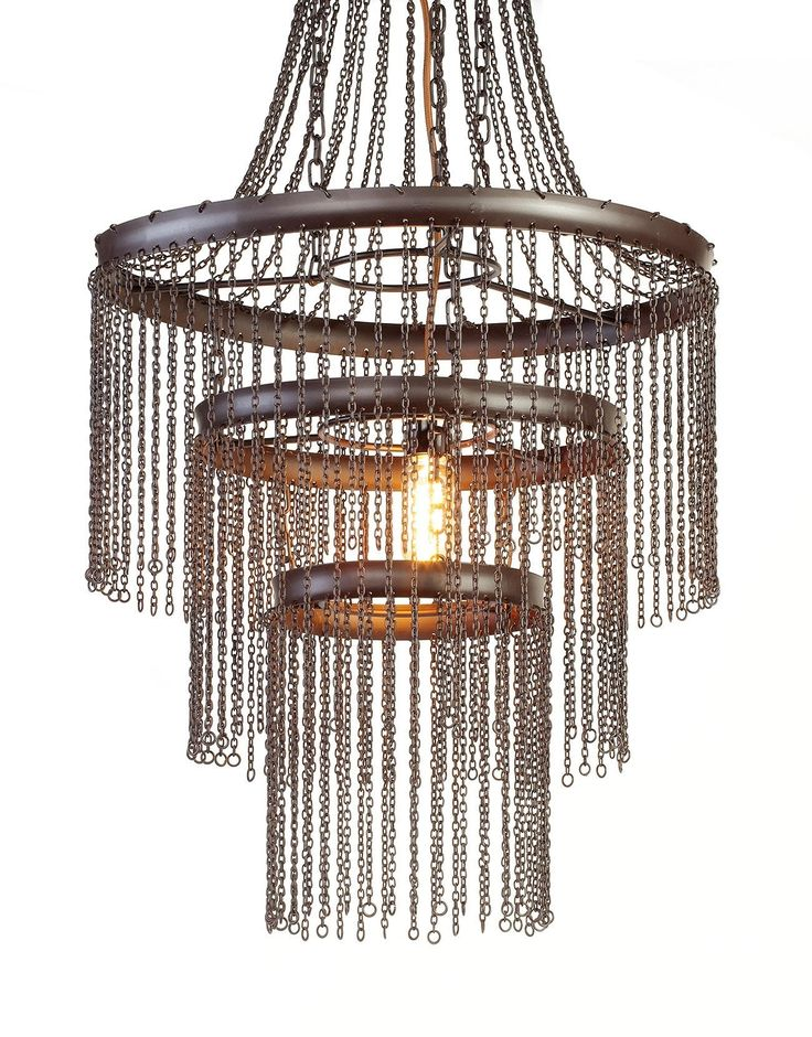 CHAIN CHANDELIER WITH CAHIN RUSTIC BROWN