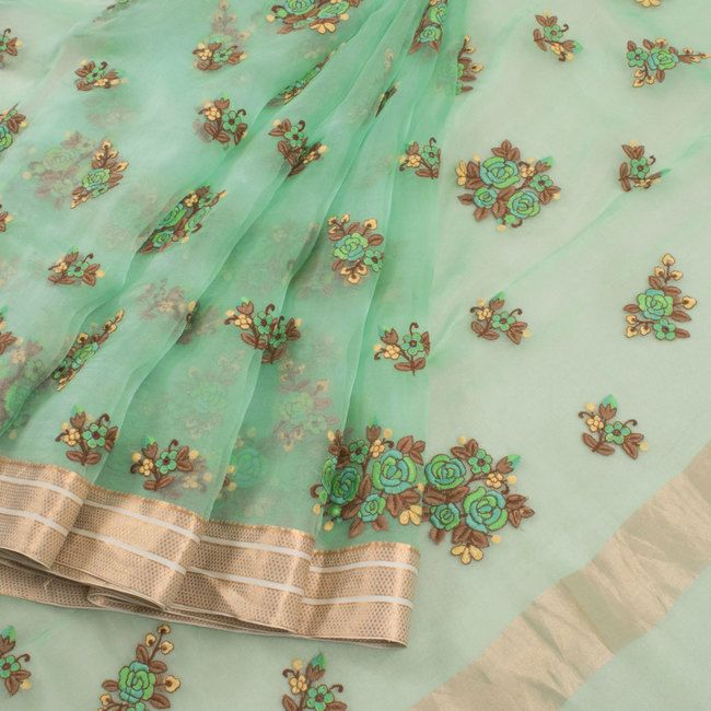 Buy online Hand Embroidered Blue Organza Saree With Floral Motifs & Zari Border 10011963
