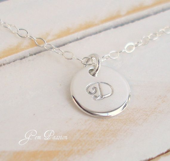Personalized Sterling Silver Initial Disc by GemPassionJewelry, $25.00