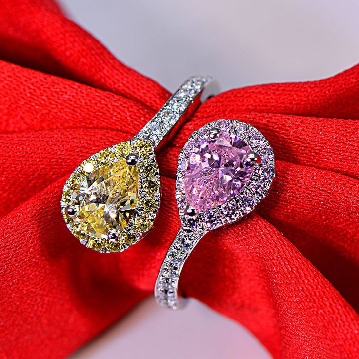 ==> [Free Shipping] Buy Best 2 carat personalized water drop double man made diamond ring sterling silver pink and purple color rings jewelry (JSA) Online with LOWEST Price | 32753869028