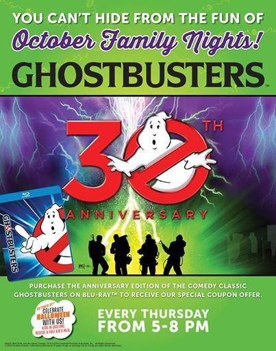 Last chance to celebrate the 30th anniversary of Ghostbusters during our Family Night! Here's some fun trivia on the film for you:  The Stay-Puft Marshmallow Man suits cost Approximately $20,000 apiece. Three were made and all were destroyed during filming.