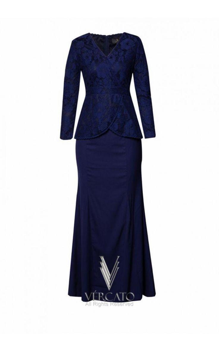 Wrap Baju Kurung Moden in Lace - VERCATO Meriel in Navy Blue