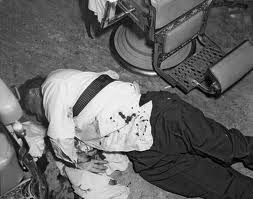 Albert Anastasia after a mob hit in a barber shop at New York's Park Sheraton in 1957.
