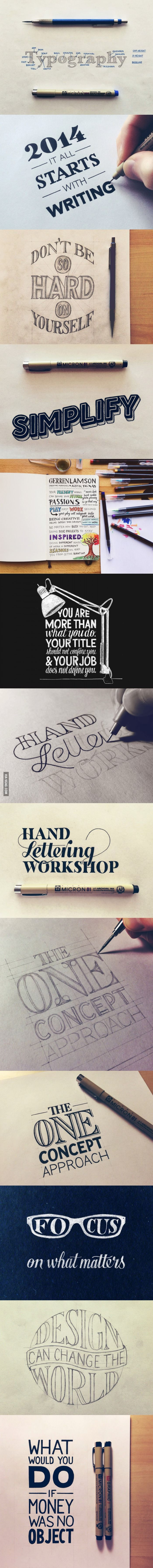 collection of hand lettering