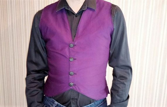 Mens cotton vest in purple by KatelilleProductions on Etsy