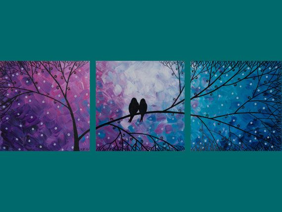 "Original Modern Abstract Heavy Texture Impasto Painting Tree Branches Love Birds Landscape Wall Decor ""Night in the Forest"""