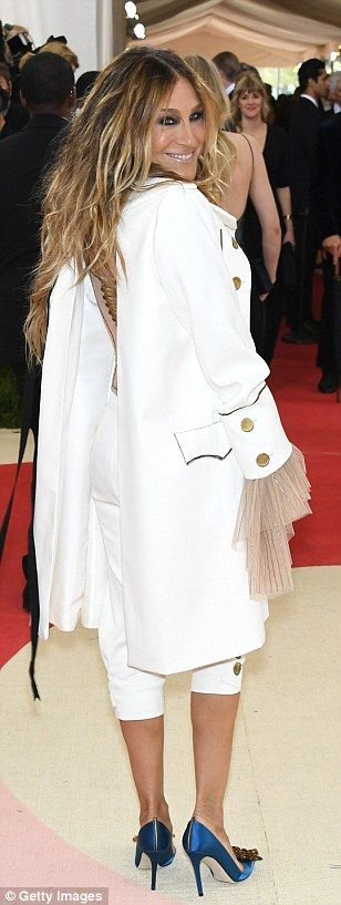 Chic in the city: Sarah Jessica Parker showed off her individual style flair in her white suit with blue satin heels