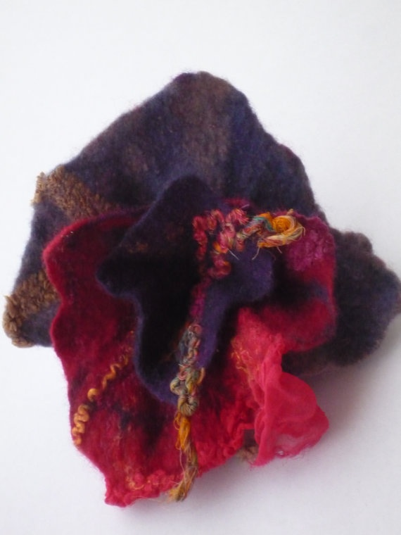 Valentines for her Felted brooch abstract flower  purple by roFelt, $17.00