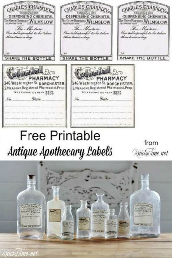 Turn any old bottle or jar into an antique apothecary-looking bottle with these free printables