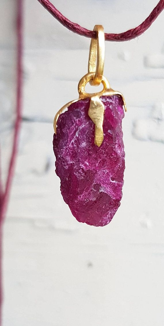 Raw ruby necklace July birthstone birthday gift for her \u2014 choose your favourite rustic ruby raw stone pendant with Sterling silver