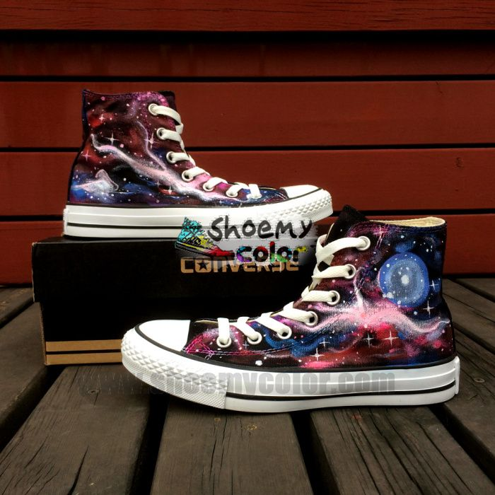 526391baff38 Purple Galaxy Planet Black Hand Painted High Top Converse Canvas Shoes for  Women Men