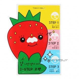 TONY MOLY  Homeless Strawberry Seeds 3 Step Nose Pack - kit de 3 parches para la eliminación de puntos negros.
