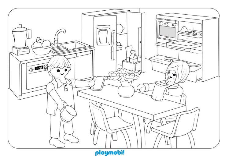 Dibujo de cocina moderna playmobil para colorear for Wohnzimmer playmobil