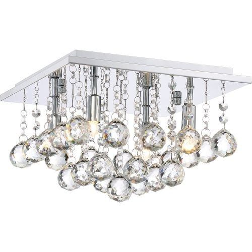 Platinum BRX1611 Bordeaux 4 Light 12 Wide Flush Mount Ceiling Fixture with Crystal Accents, Silver (Steel)
