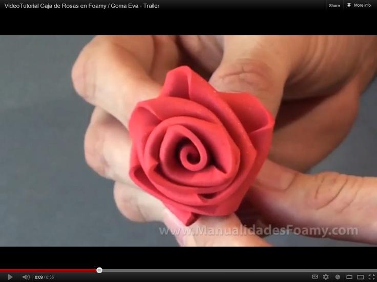 VideoTutorial Caja de Rosas en Foamy / Goma Eva - Trailer | Flores ...