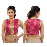 pink-brocade-high-neck-jacket-croptop-blouse-from-muhenera-jk-6