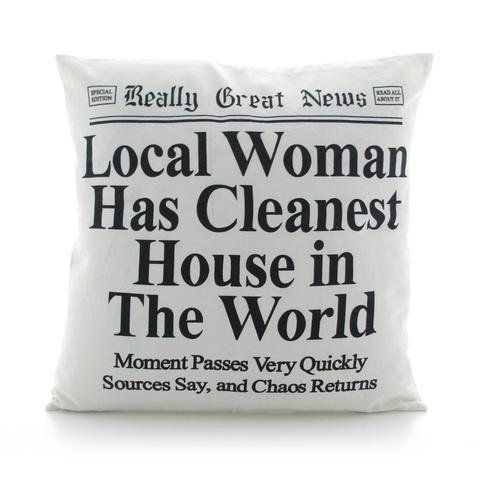 Mother's day gift, gift for Mom, Funny pillow with newspaper headline, cleanest house, gift for her, large sofa pillow, funny gift