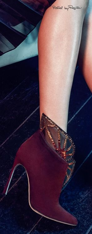 Sergio Rossi ~ Suede High Heel Booties, Marsala, 2015 via Regilla #accessories #shoes