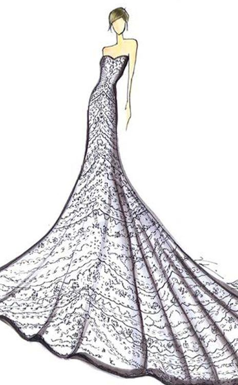 Designer Sketches For Keira Knightley S Wedding Dress