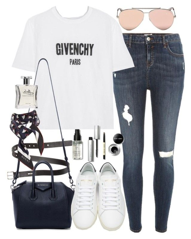 """""""outfit with jeans and sneakers"""" by ferned ❤ liked on Polyvore featuring Acne Studios, River Island, Givenchy, Alexander McQueen, Laila, Yves Saint Laurent, Bobbi Brown Cosmetics and Gucci"""