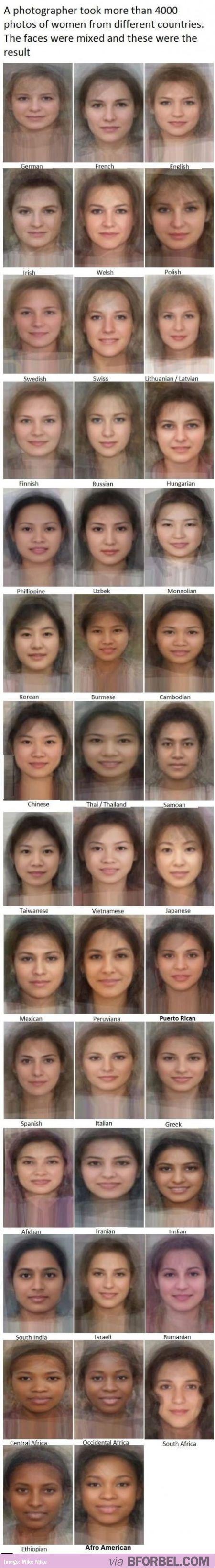 """The """"Average"""" Face of Women from 40 countries"""