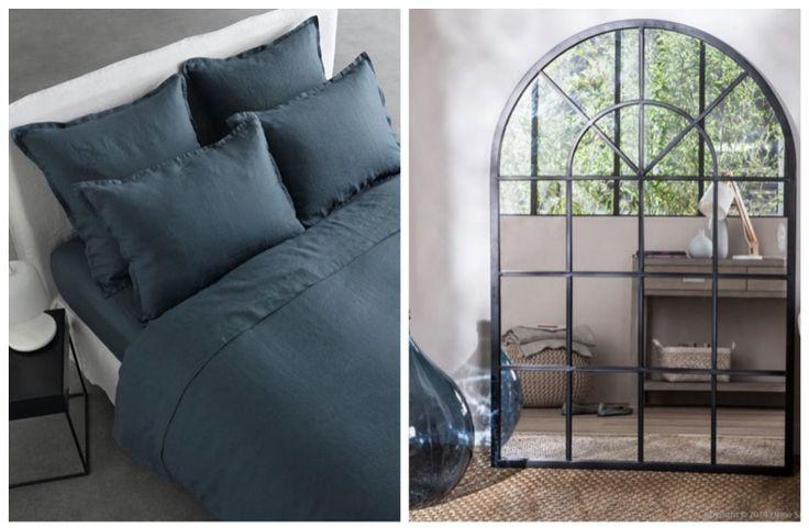 chambre parure de lit en lin lavé bleu et grand miroir atelier style verrière indus inspiration de chambre  chiner ses objets campagne chic