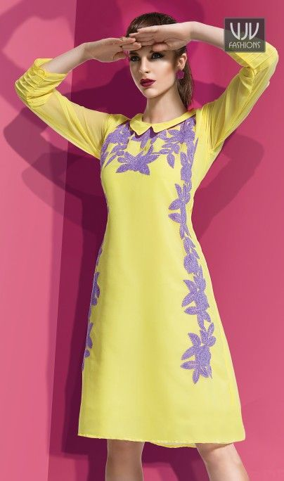 Awesome Light Yellow Color Georgette Fabric Kurti  Light Yellow Color Georgette Fabric Kurti. This kurti is covered with Purple color floral embroidery work on neck line & on kurti with pleats on sleeves which looks you a charm.  This Beautiful Kurti has Golden color sequence work on all over the kurti which gives stunning look to the