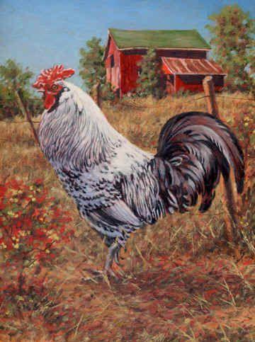 """Silver-Laced Rock Rooster""  by Richard De Wolfe"