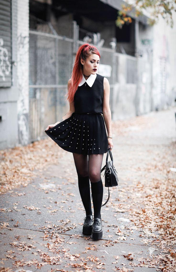 black collar dress with platform shoes
