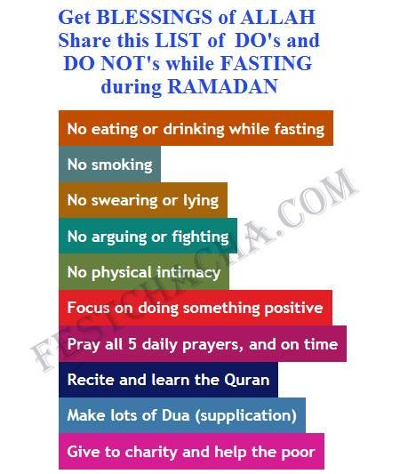 Get Blessings of #ALLAH. Share this Image containing the list of do's and do not's while #fasting during #ramdan. #Rules and #regulations of Ramadan #ramadan2014