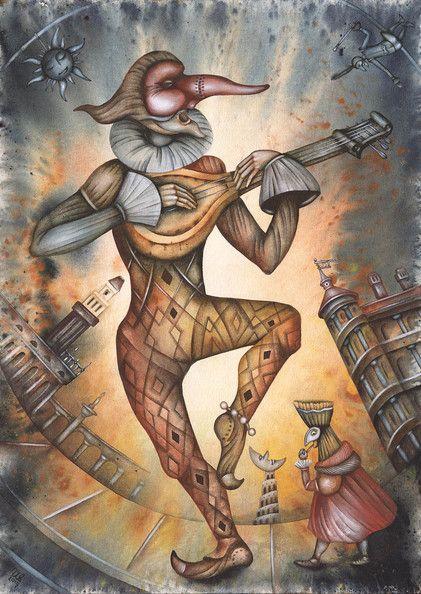The Harlequin Night by Eugene Ivanov #cirque #circus #clown #clownery #illustration #eugeneivanov #@eugene_1_ivanov