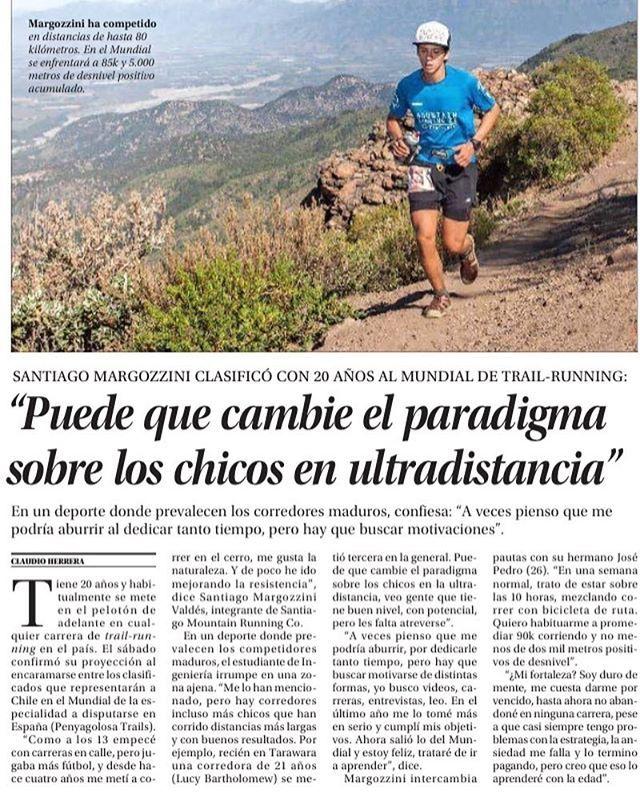 Orgullosos del excelente desempeño de @santiagofmv nuestro embajador que sé ganó su lugar en el mundial de Trail Running en España (Penyagolosa Trails 85km con 5000D)Les dejamos este artículo publicado en El Mercurio