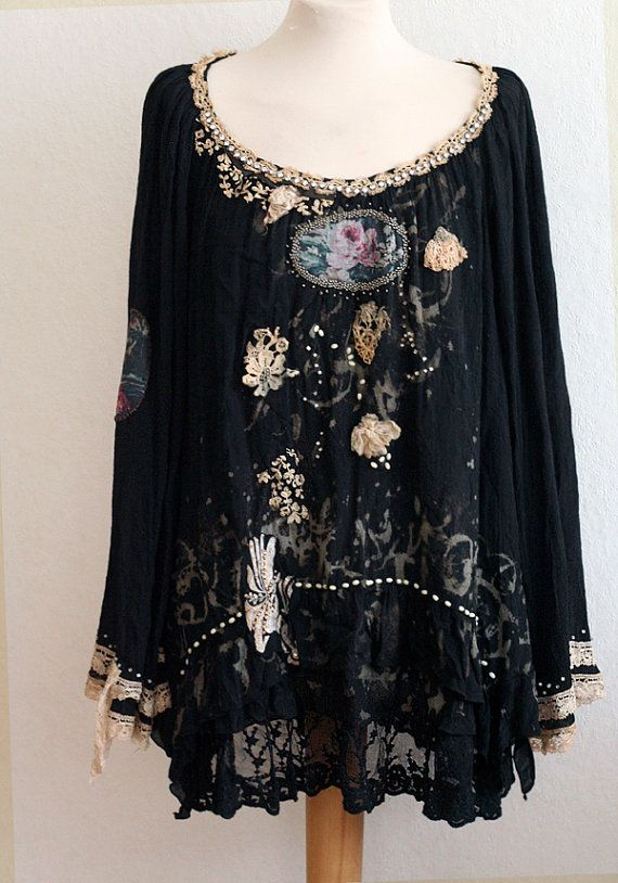 Ephemera -- artful bohemian lagenlook tunic, hand dyed, antique laces, appliques and embroidery