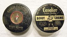 Vintage LORD ESQUIRE & CAVALIER Boot Polish Cream Glass Jars--shoe shine-not tin