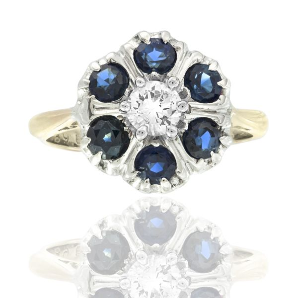 Wonderful Art Deco Platinum and 18 carat Gold Sapphire & Diamond Daisy Ring!