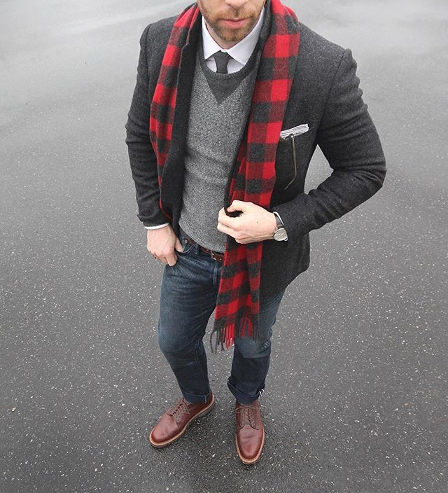 New Year's resolution: wear more buffalo plaid. Scarf: @llbean Signature Sweater/Shirt: @jcrew Blazer: @bonobos Chukkas: Alden 6 eyelet @needsupply Tie/Pocket Square: @thetiebar Belt: @tannergoods Denim: RRL @ralphlauren