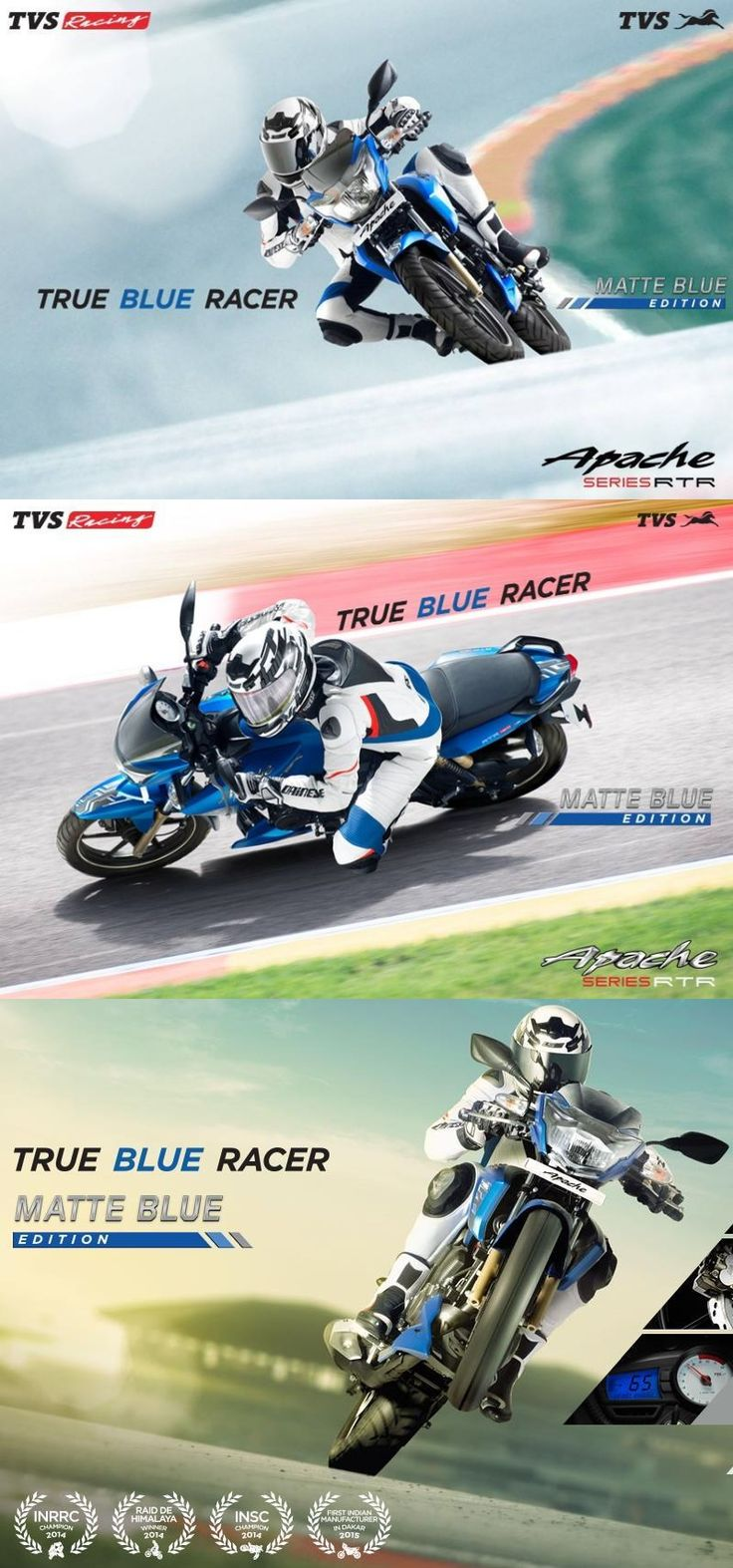The true blue #racer is here !!! TVS Motor Company introduce Matte Blue Edition For TVS Apache series. t