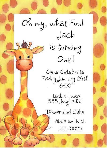 Cute Giraffe Baby Shower or Birthday Party Invitations