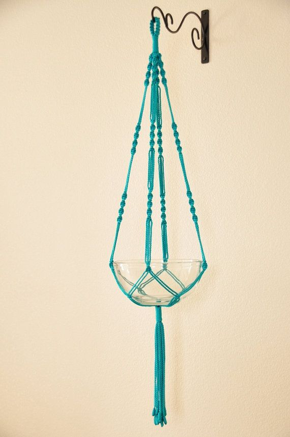 "Hand Crafted Macrame Plant Hanger- Turquoise 42""-45"""