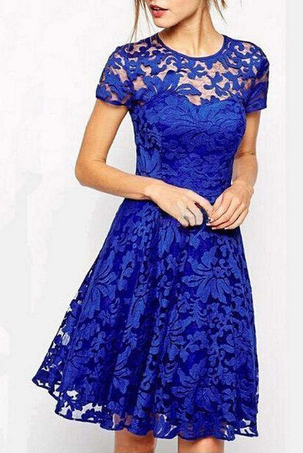 Women sweet heart lace dress mini skater evening prom party trendy chic blue