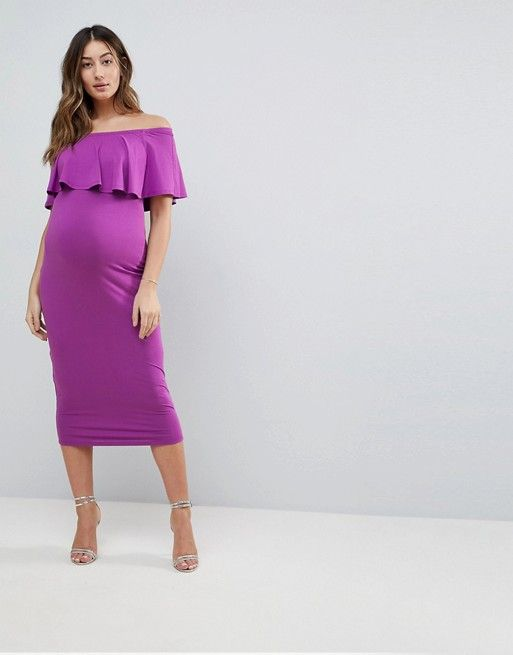 15b2946e46f19 Maternity Midi Bardot Pencil Dress With Ruffle | Party | Maternity ...