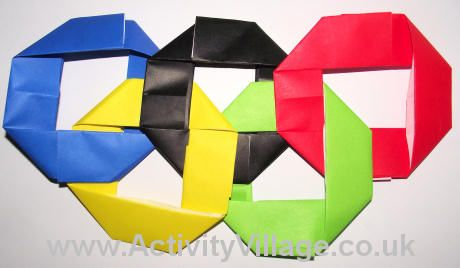 Origami Olympic rings - Good idea to tie in Visual Art (looking at Japanese art techniques) and the Olympics
