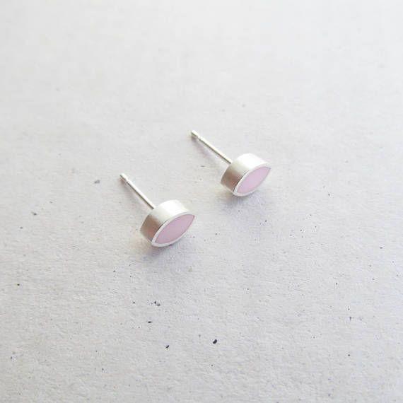Teeny Tiny Pink Leaf Studs - www.wildeworks.co.uk
