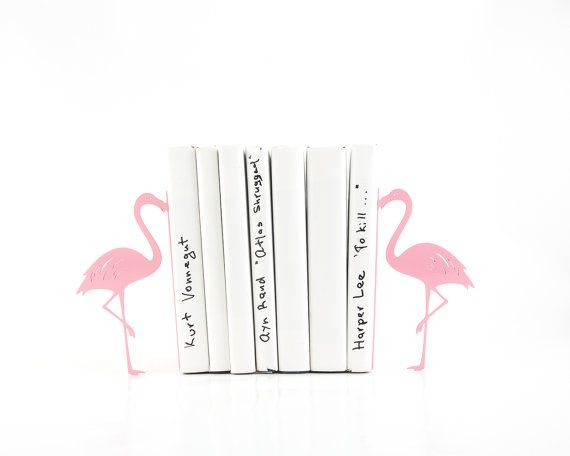 Metal Bookends Flamingos // Book holders // Mod Decor Makes a Great Housewarming Gift // Christmas present for a book lover // FREE SHIPPING