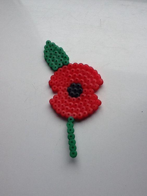Image result for hama bead poppy badge