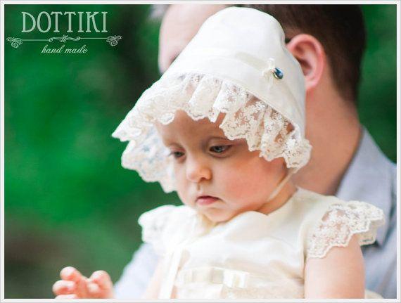 Silk Bonnet Baby HatBaby Bonnet Baby Cap Silk and Lace