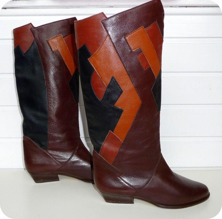 VINTAGE HÖGL Stiefel Leder Boots EU 37 UK 4 US 6 Reiterstiefel Leather Braun 70s in Kleidung & Accessoires, Damenschuhe, Stiefel & Stiefeletten   eBay